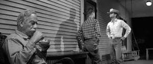 No terraço: avô, neto e filho...