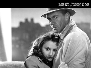 "Barbara Stanwyck e Gary Cooper em ""Meet John Doe"", de 1941."