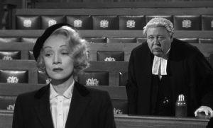"""Marlene Dietrich e Charles Laughton em """"Testemunha de Acusação"""" (1958)"""