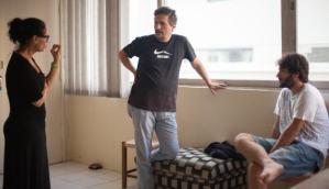 Sônia Braga e o diretor Kleber Mendonça nas filmagens de Aquarius