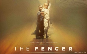 "Poster do filme, com o título internacional, ""The fencer"""