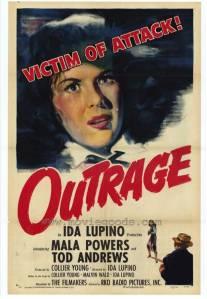 """O cartaz de """"Outrage"""" : """"O mundo é culpado"""", 1950."""