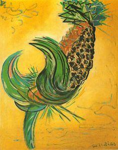 Galo ou abacaxi - entre o figurativo e o abstrato.