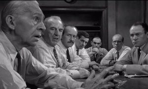 """Nem todos do júri são vistos, em """"Doze homens e uma sentença"""", 1957."""